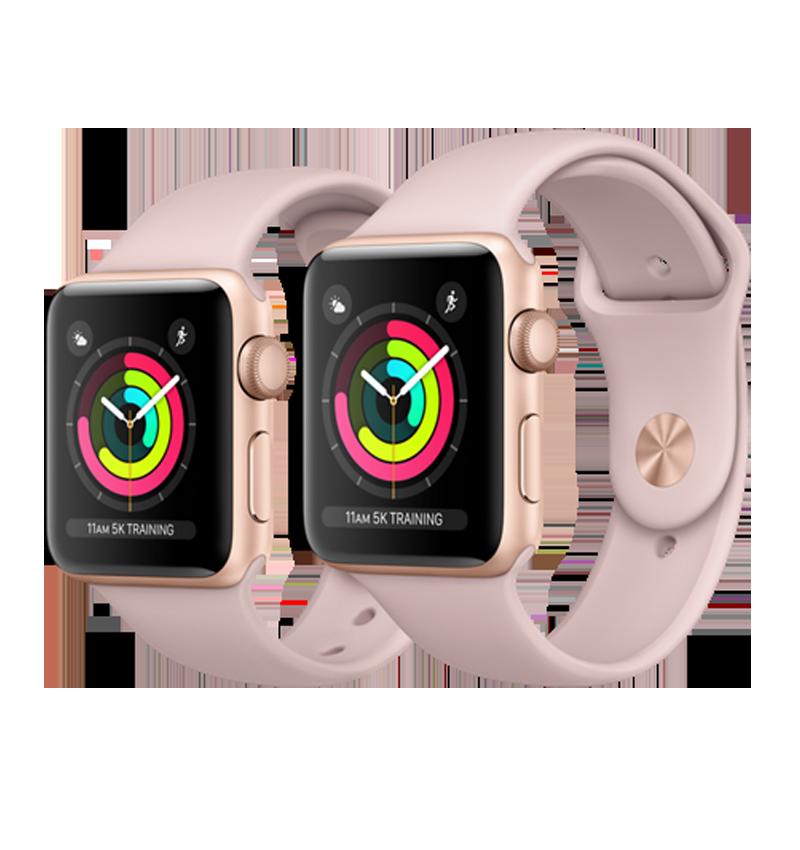 timeless design d1e1e 9d826 Apple Watch Series 3 GPS 42mm Gold Aluminum Case with Pink Sand Sport Band  – MQL22