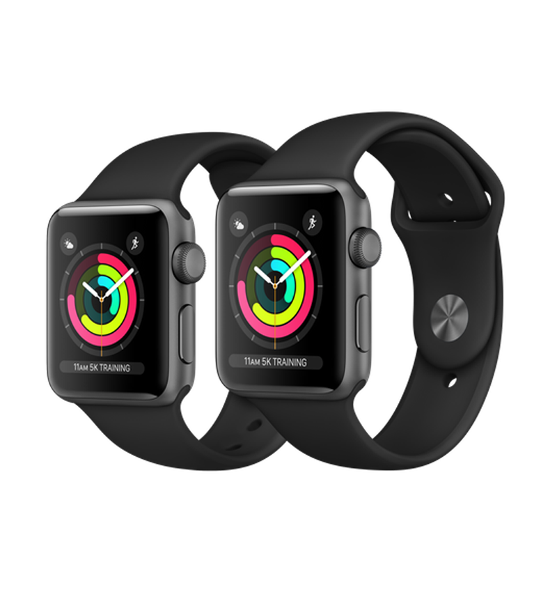 size 40 ffdc7 f5b6b Apple Watch Series 3 GPS 38mm Space Gray Aluminum Case with Black Sport  Band – MQKV2